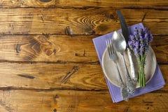 Silverware z lawendą zdjęcia royalty free