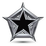 Silvery blazon with pentagonal black star, can be used in web an. D graphic design, clear EPS 8 . Heraldic silver symbol, 3d coat of arms Royalty Free Stock Photos