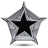 Silvery blazon with pentagonal black star, can be used in web an. D graphic design, clear EPS 8 vector. Heraldic silver symbol, 3d coat of arms Royalty Free Stock Image