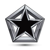 Silvery blazon with pentagonal black star, can be used in web an. D graphic design, clear EPS 8 vector. Heraldic silver symbol, 3d coat of arms Stock Photography