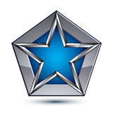 Silvery blazon with pentagonal blue star, can be used in web Stock Photo