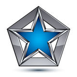 Silvery blazon with pentagonal blue star, can be used in web and. Graphic design, clear EPS 8 vector. Heraldic silver symbol, 3d coat of arms Stock Images