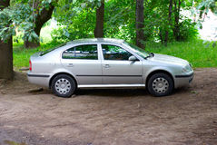 Silvery car. Stands on a stand under tree stock photo