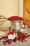 Silvery Centerpiece with Red Roses Stock Images