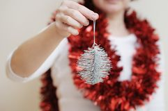Silvery christmas toy Royalty Free Stock Images