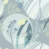Silvery circles, green, golden, gray flowers and leaves. Abstract floral pattern in gray-green colors. Seamless pattern. stock illustration