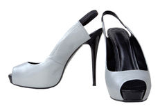 Silvery female shoes Stock Photo