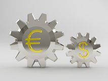 Silvery gear with a big gold Euro Stock Photos