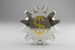 Silvery gear with a gold dollar sign Royalty Free Stock Image