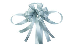 Silvery glisterring ribbon bow isolated Royalty Free Stock Photos