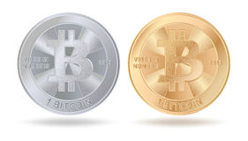 Silvery and golden bitcoins. Casascius physical bitcoin.  Bit coin. Digital currency.  Cryptocurrency. Set of silver and golen coin isolated on white background Royalty Free Stock Photo