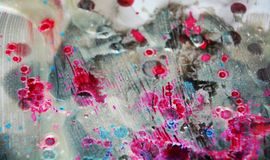 Silvery icy dark blurred watercolor background, waxy abstract texture Stock Photo