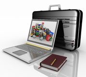 Silvery laptop, notepad and pen with black brief-case Royalty Free Stock Images