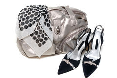 Silvery leather bag and pair of the loafer Royalty Free Stock Photography