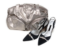 Silvery leather bag and pair of the loafer Stock Photography