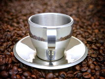 Silvery metallic espresso cup Royalty Free Stock Image