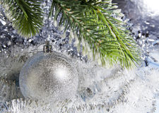 Silvery New Year ball Royalty Free Stock Images