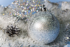 Silvery New Year  ball, small depth of sharpness Stock Photo