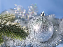 Silvery New Year  ball, small depth of sharpness Stock Images