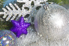 Silvery New Year's ball and decorative snowflake, Royalty Free Stock Images