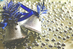 Silvery and shiny beads as background Royalty Free Stock Photo