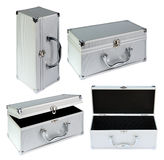 Silvery suitcase. On the white background. (isolated royalty free stock photography