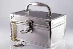 Silvery suitcase-box Royalty Free Stock Photo