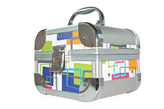 Silvery suitcase (casket) Stock Images