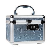Silvery suitcase on the white background. (isolated Stock Photo