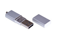 Silvery usb flash drive Royalty Free Stock Photo