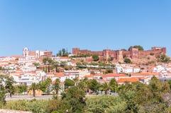 Silves全景在葡萄牙 库存图片