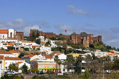 Silves, Algarve, Portugal - Panoramamening Stock Afbeelding