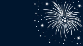 Silvester. Card with fireworks and stars in blue vector illustration