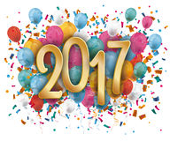 Silvester 2017 Balloons Confetti. 2017 with colored confetti and balloons on the white background Stock Photos
