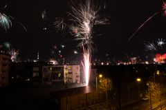 Silvester in Berlin. Firework at new year 2018 in Berlin city Stock Photography