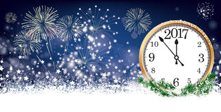 Silvester Card Clock 2017 Header Snowflakes Stars Fireworks. Silvester card header with clock 2017, snow, fireworks and stars on der dark background Stock Image