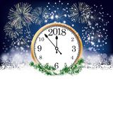 Silvester Clock 2018 Fireworks. Silvester card with snowflakes, fireworks and clock with date 2018 on the dark background Stock Photos
