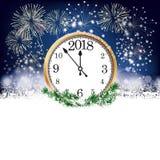Silvester Clock 2018 fyrverkerier Arkivfoton