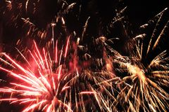 Silvester. Firework red and yellow Stock Photo