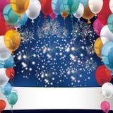 Silvester Fireworks Balloons Banner Images libres de droits