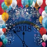 Silvester Fireworks Balloons Banner Clock 2018 Photo stock