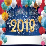 Silvester Fireworks Balloons Banner 2018. Silvester 2018 with colored balloons and fireworks on the blue background Stock Images