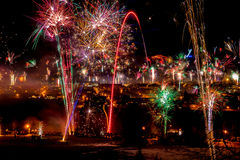 Silvester. Fireworks in Oberstdorf at night Royalty Free Stock Photos