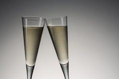 Silvester grzanka z zimnym szampanem fotografia royalty free