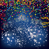 Silvester Night Confetti Fireworks Ribbons. Colored confetti with ribbons and fireworks and on the white Royalty Free Stock Photo