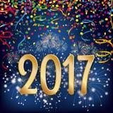 Silvester Night Fireworks Confetti Ribbons 2017 stock de ilustración