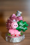 Silvester pig lucky charm Stock Photography