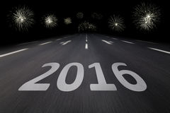 2016 Silvester. Written on asphalt by night Stock Photography