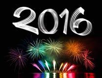 Silvesterabend 2016 mit Feuerwerken Stockfotos