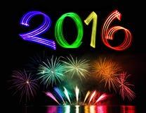 Silvesterabend 2016 mit Feuerwerken Lizenzfreies Stockfoto